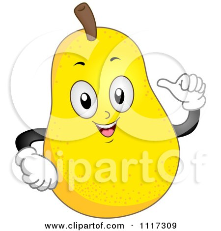 Cartoon Of A Happy Pear Gesturing At Himself - Royalty Free Vector Clipart by BNP Design Studio