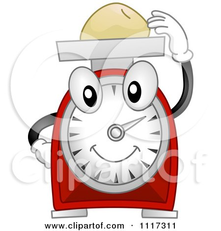 Cartoon Of A Happy Kitchen Scale Weighing Food - Royalty Free Vector Clipart by BNP Design Studio