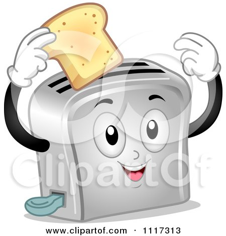 Cartoon Of A Happy Toaster Holding A Slice Of Bread - Royalty Free Vector Clipart by BNP Design Studio