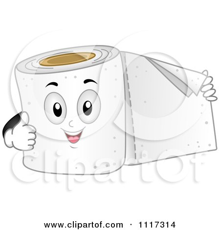 Cartoon Of A Happy Roll Of Toilet Paper Holding Out A Sheet And Giving A Thumb Up - Royalty Free Vector Clipart by BNP Design Studio
