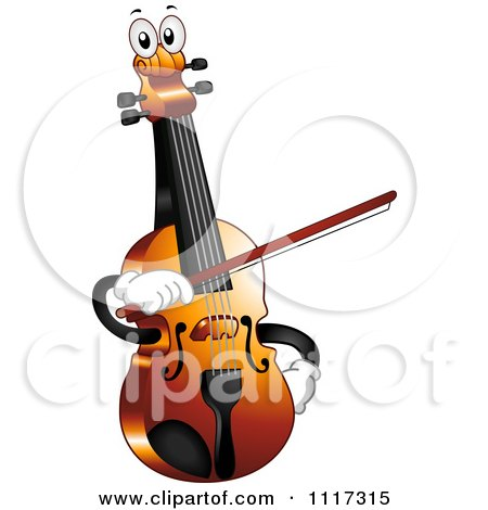 Cartoon Of A Happy Violin Fiddle Holding A Bow - Royalty Free Vector Clipart by BNP Design Studio