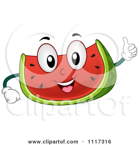 Cartoon Of A Happy Watermelon Giving A Thumb Up - Royalty Free Vector Clipart by BNP Design Studio