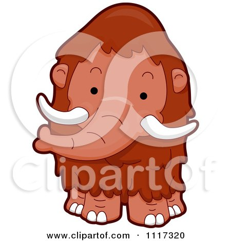 Cartoon Of A Cute Mammoth - Royalty Free Vector Clipart by BNP Design Studio