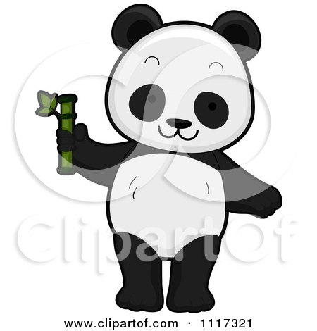 Cartoon Of A Cute Panda With Bamboo - Royalty Free Vector Clipart by BNP Design Studio