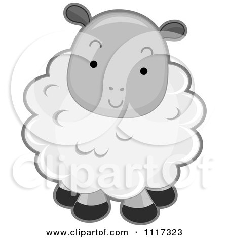 Cartoon Of A Cute Fluffy Sheep - Royalty Free Vector Clipart by BNP Design Studio
