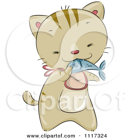 Cartoon Of A Cute Cat Wearing A Bib And Eating A Fish - Royalty Free Vector Clipart by BNP Design Studio