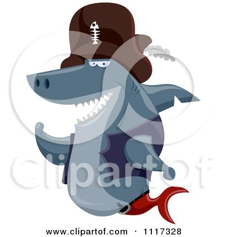 Cartoon Of A Pirate Shark Grinning - Royalty Free Vector Clipart by BNP Design Studio