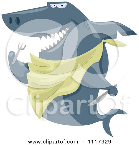 Cartoon Of A Hungry Shark With A Bib And Silverware - Royalty Free Vector Clipart by BNP Design Studio