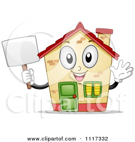 Cartoon Of A Happy House Mascot Waving And Holding A Sign - Royalty Free Vector Clipart by BNP Design Studio