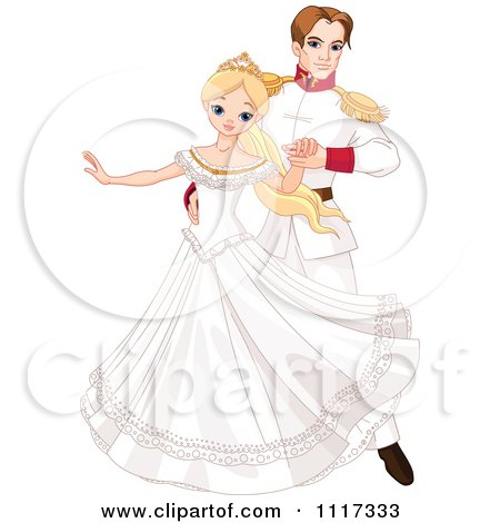 Cartoon Of A Beautiful Fairy Tale Princess Dancing With A Prince At A Ball - Royalty Free Vector Clipart by Pushkin