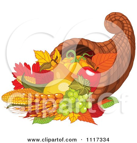 Cartoon Of An Autumn Harvest Cornucopia With Wheat Fruits And Vegetables - Royalty Free Vector Clipart by Pushkin