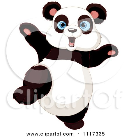 Cartoon Of A Cute Panda Dancing - Royalty Free Vector Clipart by Pushkin