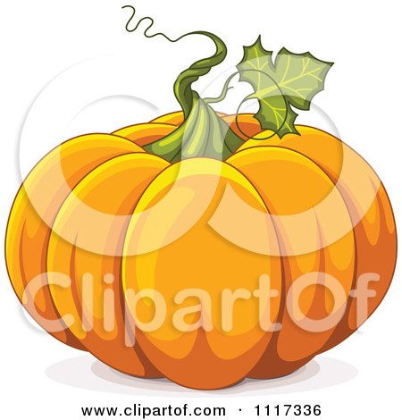 Cartoon Of A Twirling Vine On An Autumn Pumpkin - Royalty Free Vector Clipart by Pushkin