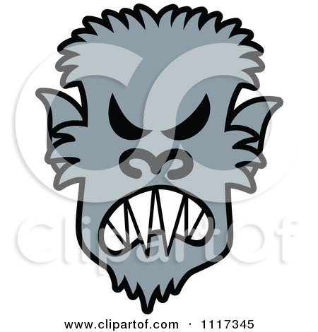 Cartoon Of A Halloween Werewolf With An Angry Expression - Royalty Free Vector Clipart by Zooco
