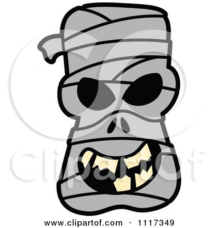 Cartoon Of A Halloween Mummy With A Naughty Grin - Royalty Free Vector Clipart by Zooco