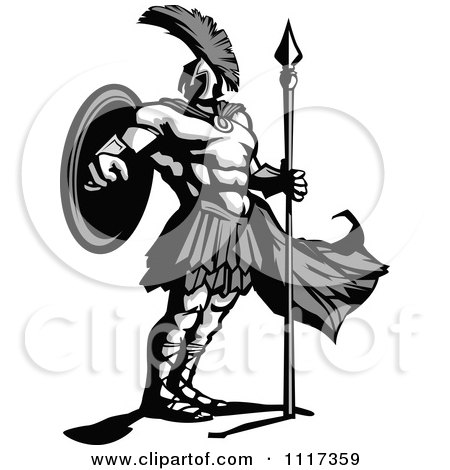 Vector Clipart Of A Grayscale Masculine And Strong Spartan Warrior - Royalty Free Graphic Illustration by Chromaco
