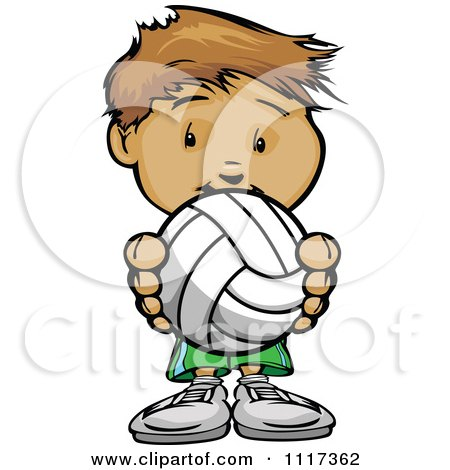 Cartoon Of A Cute Sporty Boy Holding A Volleyball - Royalty Free Vector Clipart Of A  by Chromaco