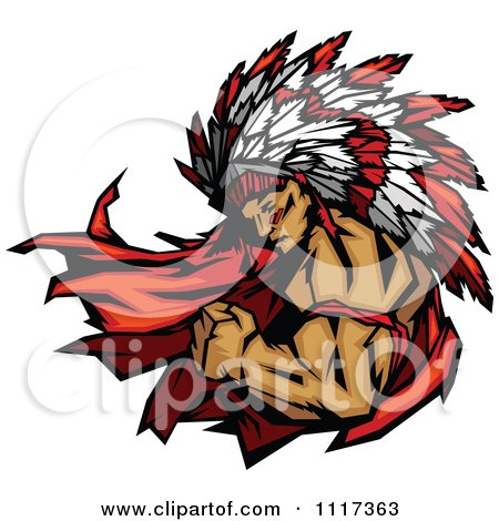 Vector Clipart Of A Masculine Strong Chief Flexing His Bicep - Royalty Free Graphic Illustration by Chromaco