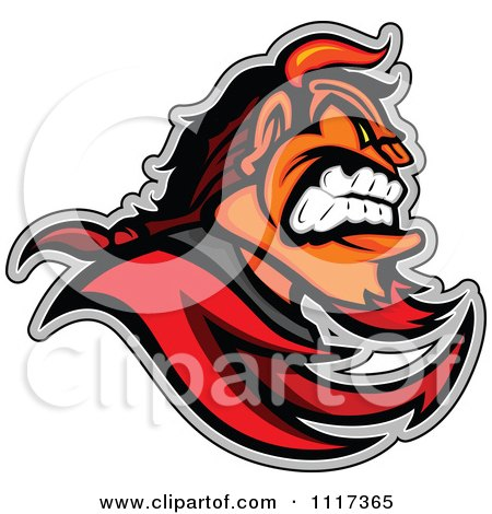 Vector Clipart Of A Aggressive Devil Mascot In Profile - Royalty Free Graphic Illustration by Chromaco
