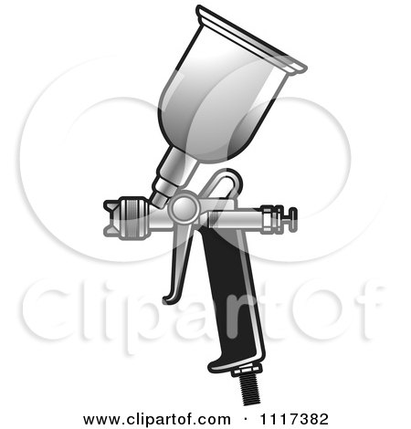 Clipart Of A Black And Silver Spray Painting Gun - Royalty Free Vector Illustration by Lal Perera