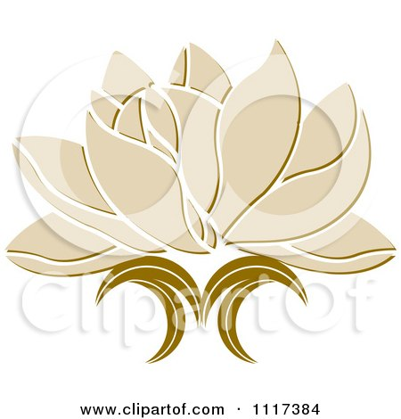 Clipart Of A Beige Lotus Flower - Royalty Free Vector Illustration by Lal Perera