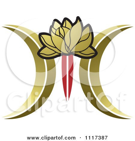 Clipart Of A Red And Gold Lotus Flower - Royalty Free Vector Illustration by Lal Perera