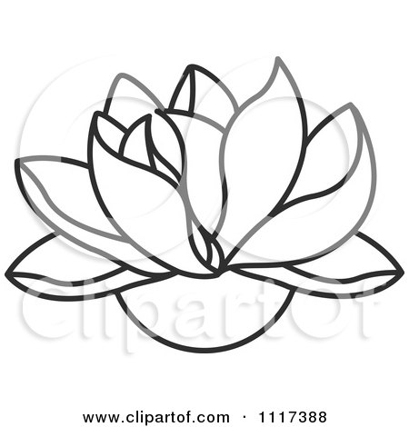 Lotus Flower Picture on Clipart Of A Black And White Lotus Flower   Royalty Free Vector