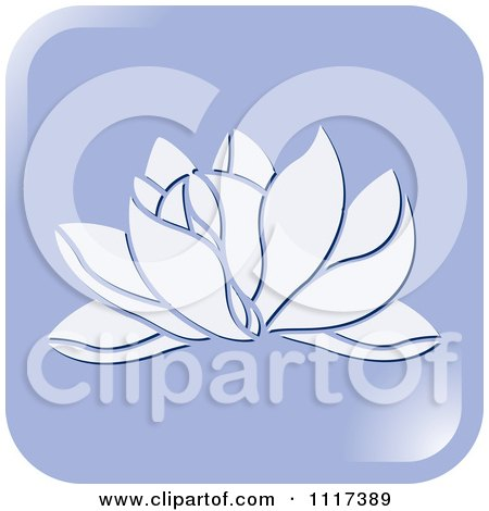 Clipart Of A Purple Lotus Flower Icon - Royalty Free Vector Illustration by Lal Perera