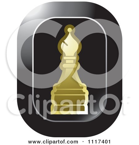 Clipart Of A Gold Bishop Chess Piece Icon - Royalty Free Vector Illustration by Lal Perera