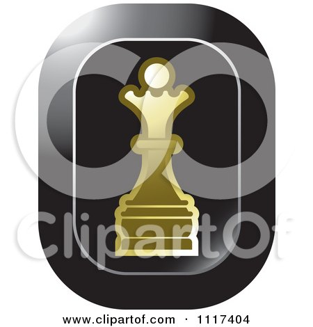 Clipart Of A Gold Queen Chess Piece Icon - Royalty Free Vector Illustration by Lal Perera