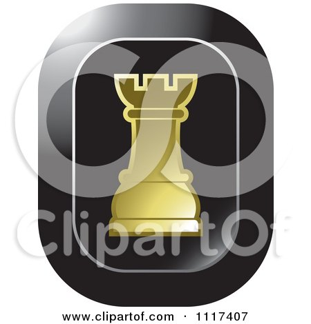 Clipart Of A Gold Rook Chess Piece Icon - Royalty Free Vector Illustration by Lal Perera