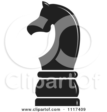 Clipart Of A Black Knight Chess Piece - Royalty Free Vector Illustration by Lal Perera