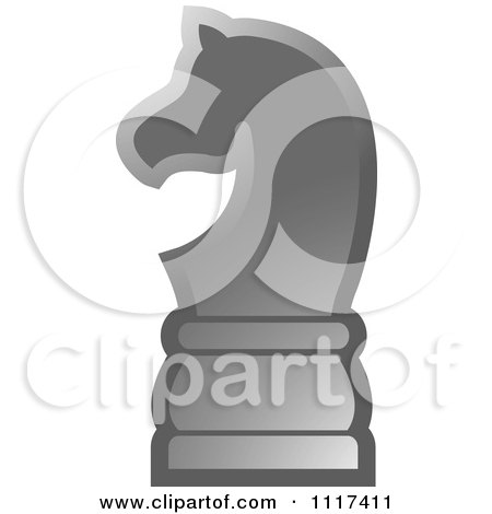 Clipart Of A Gray Knight Chess Piece - Royalty Free Vector Illustration by Lal Perera