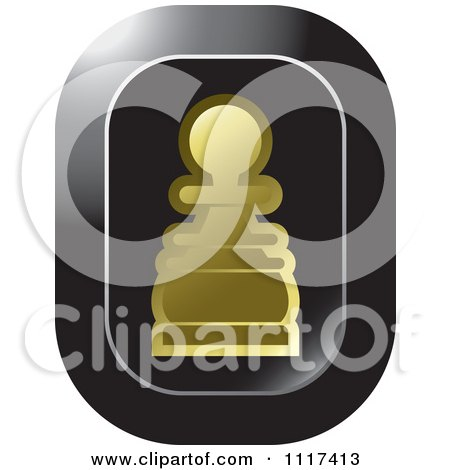 Clipart Of A Gold Pawn Chess Piece Icon - Royalty Free Vector Illustration by Lal Perera