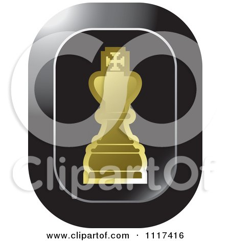 Clipart Of A Gold King Chess Piece Icon - Royalty Free Vector Illustration by Lal Perera
