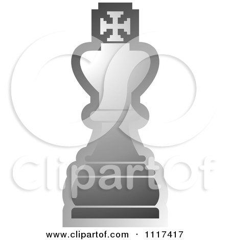 Clipart Of A Gray King Chess Piece - Royalty Free Vector Illustration by Lal Perera