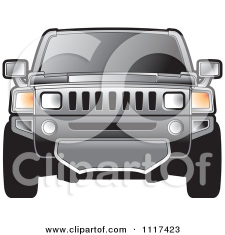 Clipart Of A Frontal View Of A Gray Hummer SUV - Royalty Free Vector Illustration by Lal Perera