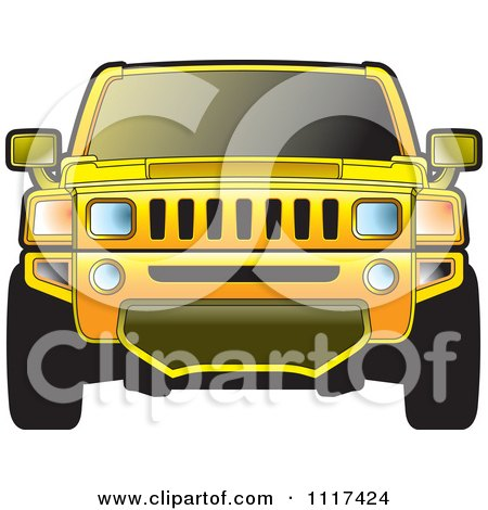 Clipart Of A Frontal View Of A Yellow Hummer SUV - Royalty Free Vector Illustration by Lal Perera