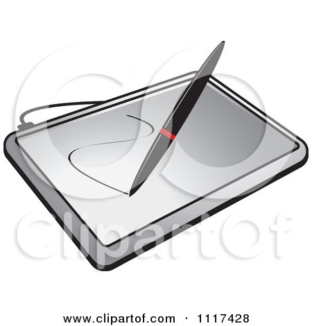 Clipart Of A Stylus Pen Drawing On A Computer Graphics Tablet - Royalty Free Vector Illustration by Lal Perera