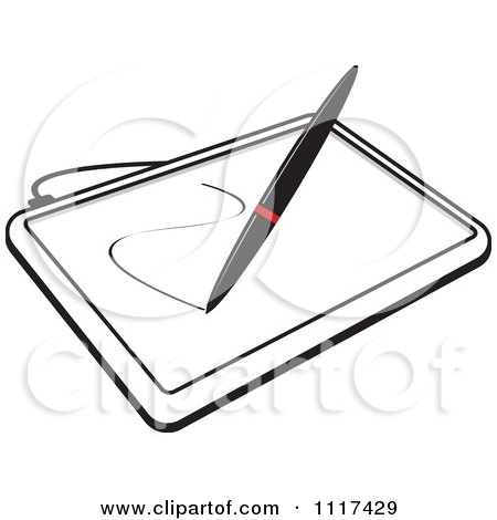 Clipart Of A Stylus Pen Drawing On A Black And White ... Tablet Clipart Black And White