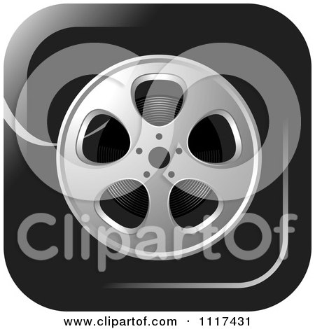 Clipart Of A Movie Film Reel Black Icon - Royalty Free Vector Illustration by Lal Perera
