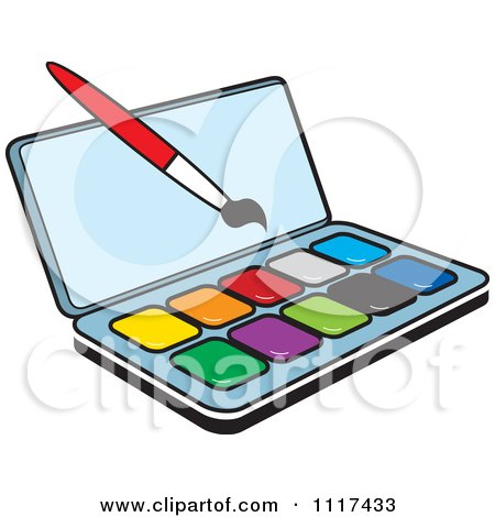 Clipart Of A Watercolor Paint Kit And Brush - Royalty Free Vector Illustration by Lal Perera