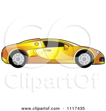 Clipart Of A Yellow Sports Car In Profile - Royalty Free Vector Illustration by Lal Perera