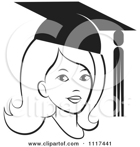 Clipart Of A Black And White Female Graduate Wearing A Cap - Royalty Free Vector Illustration by Lal Perera