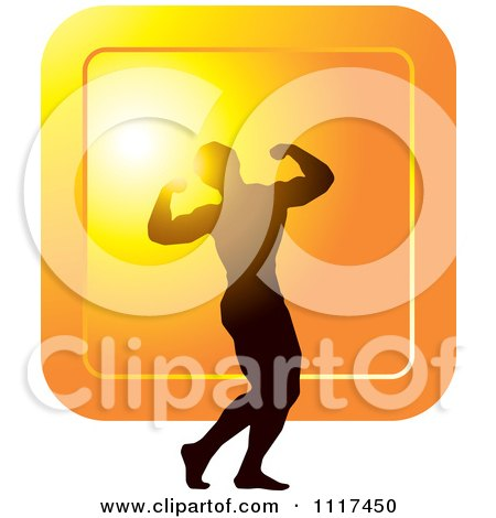 Clipart Of A Silhouetted Male Bodybuilder Competitor Posing Over An Orange Square - Royalty Free Vector Illustration by Lal Perera