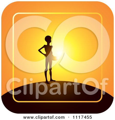 Clipart Of A Emaciated Person Begging For Food Over An Orange Sunset - Royalty Free Vector Illustration by Lal Perera