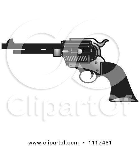Clipart Of A Silver And Black Pistol Firearm Gun - Royalty Free Vector Illustration by Lal Perera