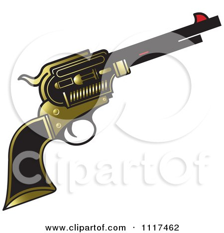 Clipart Of A Gold And Black Pistol Firearm Gun - Royalty Free Vector Illustration by Lal Perera