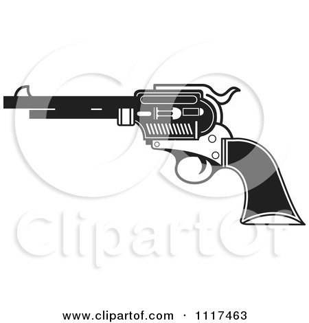 Clipart Of A Black And White Pistol Firearm Gun - Royalty Free Vector Illustration by Lal Perera
