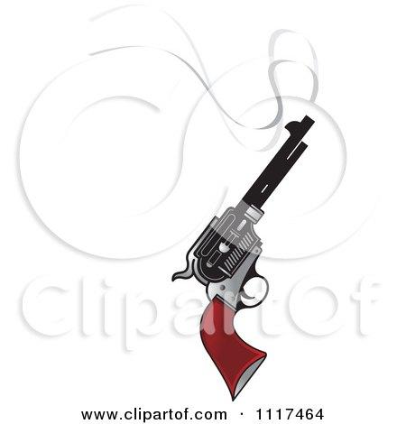 Clipart Of A Smoking Pistol Firearm Gun - Royalty Free Vector Illustration by Lal Perera